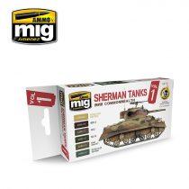 A.MIG-7169 WWII COMMONWEALTH SHERMAN TANKS akril festék szett