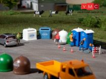 Auhagen 42593 2 db mobil WC, 5 db recycling - konténer