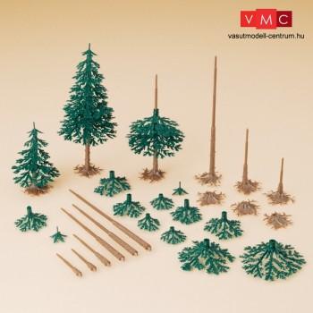 Auhagen 71938 Fenyőfa építőkészlet, 12 db - 4 különböző magasság (H0/TT)
