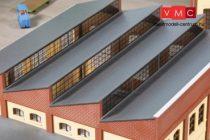 Auhagen 80308 Homlokzat ferde tetejű ipari épületekhez, téglavörös (H0)