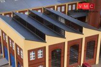 Auhagen 80309 Homlokzat ferde tetejű ipari épületekhez, sárga (H0)