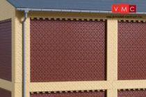 Auhagen 80526 Dekorlap, emeleti téglafal gyárépületekhez, 2532D, 8 db - téglavörös (H0)