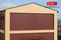 Auhagen 80528 Dekorlap, emeleti téglafal gyárépületekhez, 2532F, 4 db - téglavörös (H0)