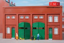 Auhagen 80529 Dekorlap, téglafal gyárépületekhez nagy kapuval, L szárnyas és rolóajtóva