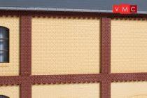 Auhagen 80626 Dekorlap, emeleti téglafal gyárépületekhez, 2532D, 8 db - sárga (H0)