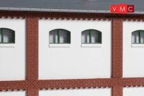 Auhagen 80724 Dekorlap, emeleti téglafal gyárépületekhez, 2532G, 8 db - vakolt fal (H0)