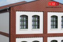 Auhagen 80725 Dekorlap, emeleti téglafal ablaknyílásokkal, gyárépületekhez, 2532I, 8 db -