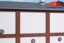 Auhagen 80726 Dekorlap, emeleti téglafal gyárépületekhez, 2532J, 8 db - vakolt fal (H0)