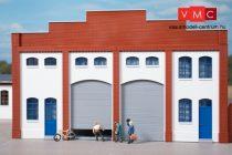 Auhagen 80729 Dekorlap, téglafal gyárépületekhez nagy kapuval, L szárnyas és rolóajtóva