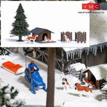 Busch 1198 Bernáthegyik télen, 3 db, kutyaházzal és kiegészítőkkel (H0)