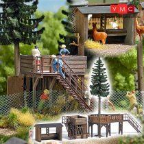 Busch 1588 Vadasparki kilátó és nézőtér fedett állatetetővel - valódi fából (H0)