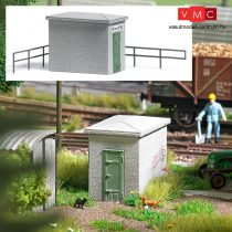 Busch 1628 Vasúti beton kapcsolóház, sarkos kivitel (H0)