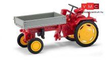 Busch 210005000 RS09 traktor platóval és oldalvágóval, piros (H0)