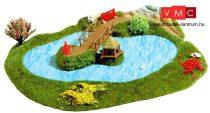 Busch 3110 Kis tó fahíddal és kacsaházzal - Kész modell (H0)