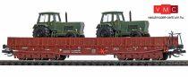 Busch 31167 Alacsony oldalfalú hattengelyes teherkocsi, Samm 4818, 2 db ZT 300 katonai traktor