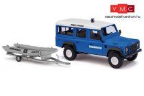 Busch 50322 Land Rover Defender, utánfutóval, gumicsónakkal - Gendarmerie (H0)