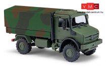 Busch 51021 Unimog U 5023 katonai ponyvás teherautó, álcafestéssel (H0)