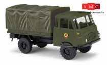 Busch 51604 Robur LO 1800 A, ponyvás katonai teherautó - GST DDR (H0)