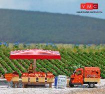 Busch 7725 Mini-Welt: Földieperárus stand, Piaggio Ape járművel (H0)