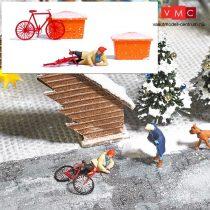 Busch 7856 Action-Set: Jégen csúszásos baleset kerékpárral (H0)