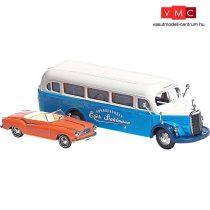Busch 89002 Oldtimer-készlet: Borgward Isabella Cabrio, Mercedes-Benz O 3500 (1949) (H0)