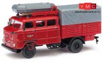 Busch 95161 IFA W50 RTGW műszaki ponyvás tűzoltóautó gumicsónakkal, FFW (H0)