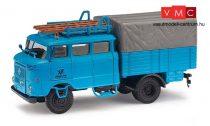 Busch 95171 IFA W 50 duplafülkés ponyvás teherautó, BTP Blaue Post (H0)