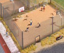 Busch 9775 Kültéri sporttér focikapukkal és kosárpalánkkal (H0)