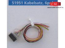 ESU 51951 Extravékony vezeték 6-tűs dekóderfoglalattal (NEM651), DCC szabványszínek, 30cm
