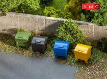 Faller 180343 Műanyag színes kerekes kukák, 4 db (H0)