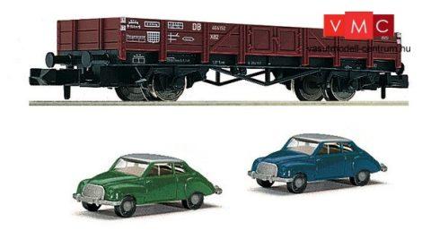 Fleischmann 820001 Alacsony oldalfalú teherkocsi, X 90 típus, 2 db DKW 3=6 személyautóval,