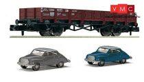Fleischmann 820002 Alacsony oldalfalú teherkocsi, X 90 típus, 2 db DKW 3=6 személyautóval,