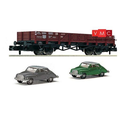 Fleischmann 820003 Alacsony oldalfalú teherkocsi, X 90 típus, 2 db DKW 3=6 személyautóval,