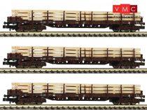 Fleischmann 826810 Rakoncás négytengelyes teherkocsi-készlet, 3-részes Rs, fa rakománnyal,