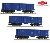 Fleischmann 852329 Nyitott négytengelyes teherkocsi-készlet, 3-részes Eaos, PKP Cargo (E6) (