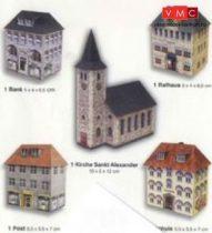 Heki 11001 Bank, városháza, posta, iskola és templom kartonból