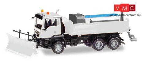 Herpa 013079 Minikit - MAN TGS M Euro6 6x6 hótoló és útszóró adapterrel, fehér színben