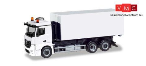 Herpa 013611 Minikit - Mercedes-Benz Antos csereszekrényszállító teherautó, fehér - Épí