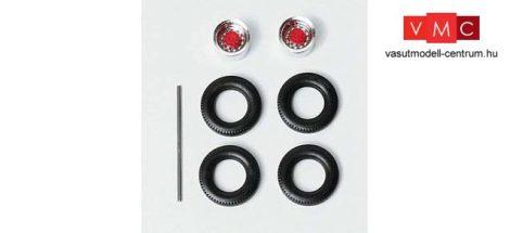 Herpa 052009 Kerékkészlet teherautókhoz, króm/piros, 8 részes (H0)