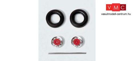 Herpa 052016 Kerékkészlet pótkocsikhoz, króm/piros, 9 részes (H0)