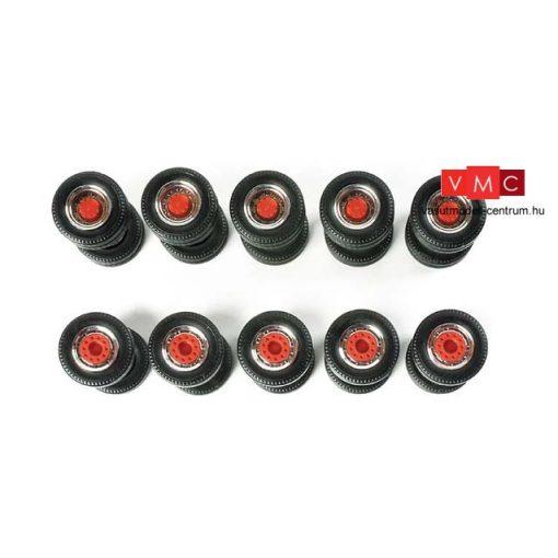 Herpa 052603 Kerékkészlet Medium nehézvontatókhoz (króm/piros - 5 részes (H0)