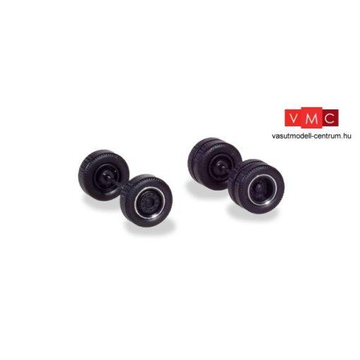 Herpa 054041 Kerékkészlet nyergesvontatókhoz: duplakerék fekete felnivel, króm szegéllyel