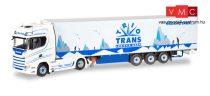 Herpa 071369 Scania CS20 HD nyergesvontató, hűtődobozos félpótkocsival, Trio-Trans (1:50)