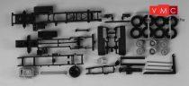 Herpa 082723 MAN TGX teherautóalváz, 3-tengelyes, gördíthető konténer adapterrel, 2 db