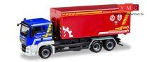 Herpa 093699 MAN TGS L Euro 6 cserefelépítmény-szállító teherautó, THW Dachau / Feuerweh