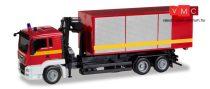 Herpa 093705 MAN TGS L cserefelépítmény-szállító teherautó daruval - Feuerwehr (H0)