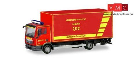 Herpa 094788 MAN TGL E6 dobozos tüzoltóautó, emelőhátfallal, Feuerwehr Wuppertal (H0)