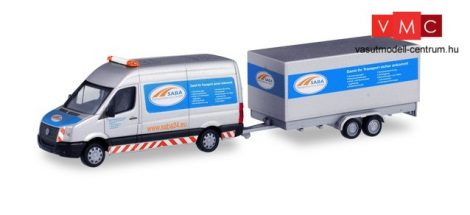 Herpa 095068 Volkswagen Crafter HD dobozos, tandemutánfutóval - SABA Transportservice (H0)