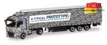 Herpa 308434 MAN TGX XLX nyergesvontató, ponyvás félpótkocsival - Hella Erlkönig Truck (H0