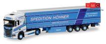 Herpa 308458 Scania CS HD nyergesvontató, ponyvás félpótkocsival - Höhner (H0)